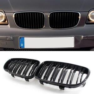 Image 2 - Grade de rim para bmw e81 3 door e87 5 door 1 série dupla slat gloss preto automóvel peças de decoração exterior