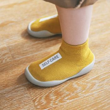Buty dziecięce pierwsze buty Unisex maluch pierwsze Walker chłopcy dziewczęta dzieci guma miękka podeszwa buty z podeszwą dzianiny botki antypoślizgowe tanie i dobre opinie ROYGCBP Z dzianiny tkaniny PATCH Wiosna jesień Slip-on Mieszane kolory Dla dzieci Pierwsze spacerowiczów RUBBER Pasuje prawda na wymiar weź swój normalny rozmiar