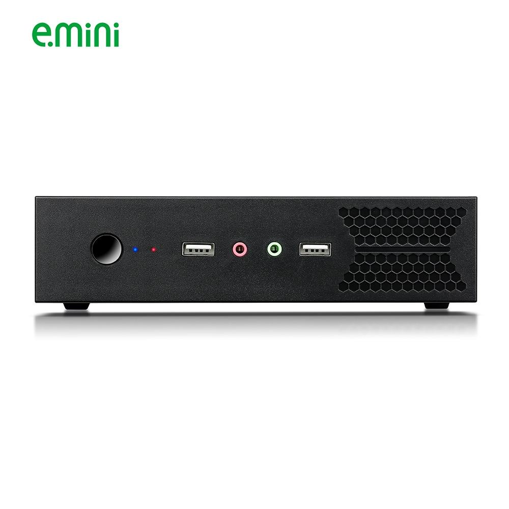 E.mini T5 Thin Mini ITX Case Black USB2.0 HTPC WIFI Antenna Ports No Power