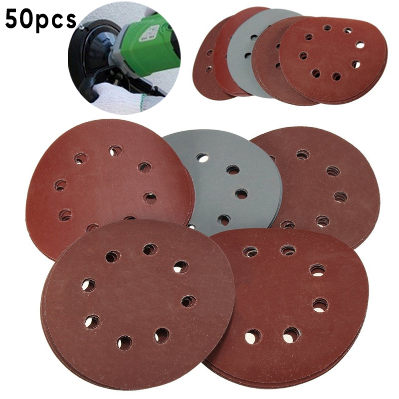 50pcs/Set Sandpaper 125mm 800 1000 1500 2000 3000 Grit Sanding Discs Sandpaper Hook Loop For Various Complex Surface Rust