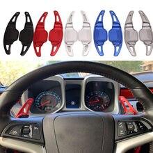 2 pçs de alumínio shift lever paddle volante shifter estender apto para chevrolet camaro 2012-2015 volante & extensão cubos