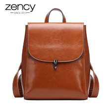 Zency Fashion Women Backpack 100% Genuine Leather Knapsack Casual Travel Bag Preppy Style Girls Schoolbag High Quality Bags