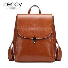 Zency mochila de cuero auténtico para mujer, bolso de viaje informal, escolar, estilo pijo, alta calidad, 100%