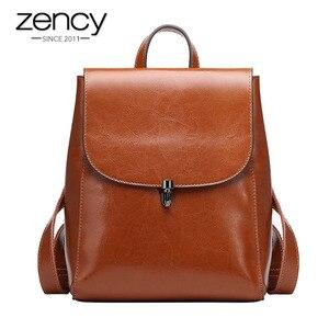 Image 1 - Zency moda kadın sırt çantası 100% hakiki deri sırt çantası rahat seyahat çantası tiki tarzı kız erkek okul çantası yüksek kaliteli çanta