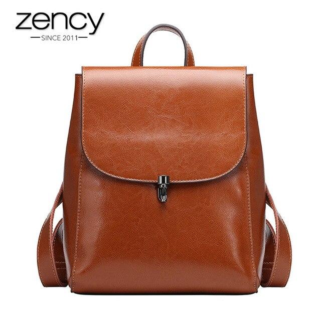 Zency moda kadın sırt çantası 100% hakiki deri sırt çantası rahat seyahat çantası tiki tarzı kız erkek okul çantası yüksek kaliteli çanta