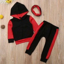 New Toddler Kids Baby Girl Boy Hoody Pant Set Solid Color Concise Comfy Kid Clothes 0-5T Fashion Children