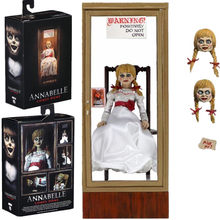 Stokta 18cm orijinal NECA Ultimate Annabelle şekil Annabelle geliyor ev aksiyon figürü PVC oyuncak toplamak hediyeler
