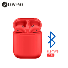 LOVESO i12 Mini TWS Wireless Bluetooth 5.0 Earphones Sports HiFi Stereo Headset Touch Control Earbuds For iPhone Xiaomi Huawei