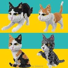متوفر بالودي 16038 16036 16037 16039 1 الماس اللبنات الطوب الحيوانات الأليفة القط نماذج للحيوانات الجمعية للأطفال هدايا الاطفال