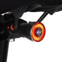50Hrs 자전거 제동 라이트 Q5 스마트 아이 LED 합금 하우징 IP65 방수 안장 시트 포스트 마운트 2A 충전 수동 및 자동 모드