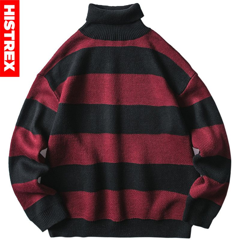 2020 Mens Striped Sweater Pullover Hip Hop Streetwear Retro Turtleneck Sweater Harajuku Knitted Sweaters Black Red Autumn Winter