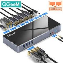 Station d'accueil QGeeM 15-IN-1 USB Hub 3.0 pour ordinateurs portables Macbook Pro Xiaomi One 5K / Dual 4K @ 60Hz Video USB Type C Hub 6 USB 3.0 2 HDMI 2 DP Gigabit Ethernet Audio Mic Dock Adaptateur OTG Accessoires PC