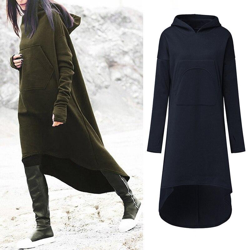 Fashion Sweatshirt Vestidos Women's Long Hoodies 2019 ZANZEA Casual Pockets Pullovers Robe Female Hooded Fleece Jumper Plus Size