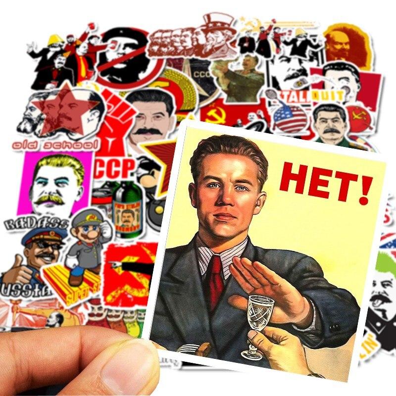 50 pièces Pas Répéter Staline URSS CCCP Graffiti Autocollants pour bricolage Ordinateur Portable Bagages Guitare Planche À Roulettes Décor Jouet Étanche Autocollant