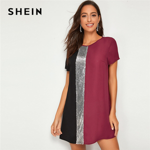 Image 5 - SHEIN Sequin Detail Colorblock Tunic Short Dress Women Keyhole Back Short Sleeve Round Neck Straight Loose Casual Dresses