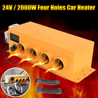 Audew 24V 2000W 4 Holes LCD Display Air Parking Car Portable Heating Heater Warmer Window Defroster Demister For Truck Bus Boat