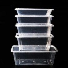 50 шт./упак. толстый квадратный одноразовый Ланчбокс пакет еды на вынос набор пластиковой посуды для чая фруктовый салат Crisper с крышкой