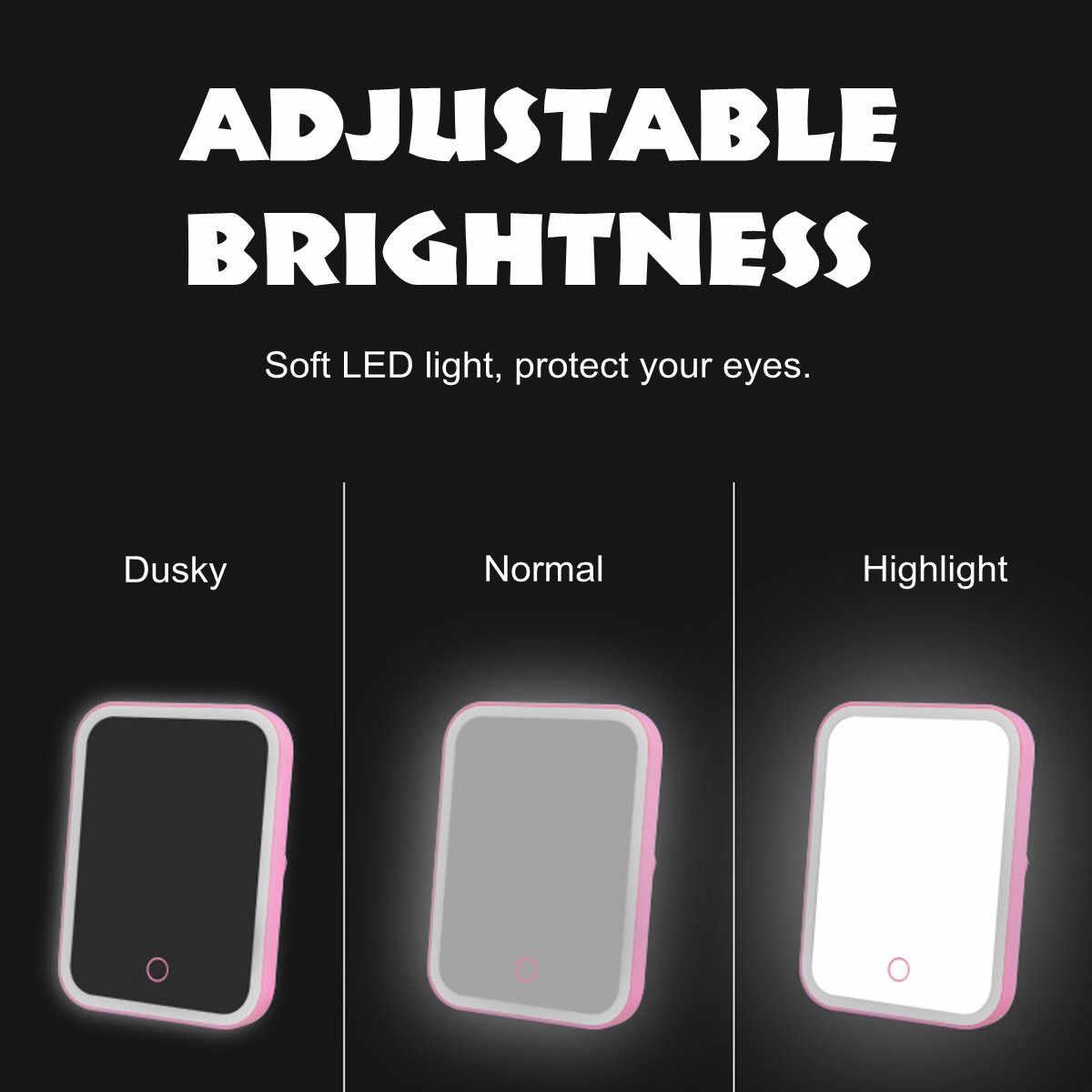 נייד איפור מראה רך LED מגע מסך מתכוונן בהירות שולחן העבודה LED מואר איפור מראה USB קוסמטי יד מראה