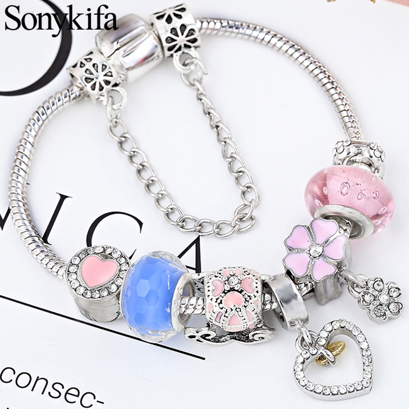 Dropshipping Vintage Silver Color Charms Bracelets For Women DIY Crystal Beads Fine Bangles Female Bracelet Jewelry Gifts