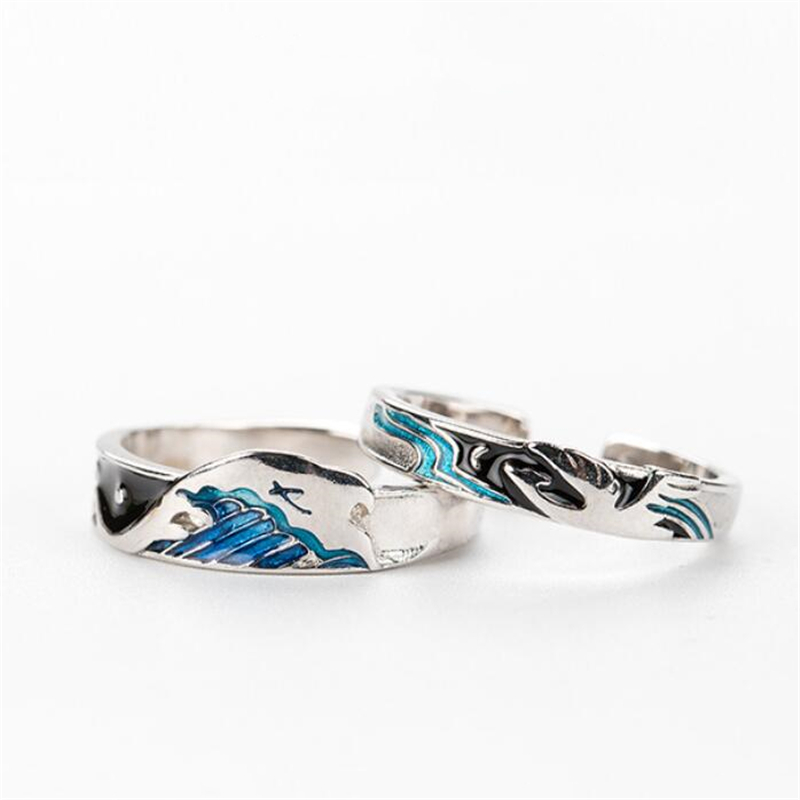 Sole Memory Flying Bird Fish Couple Sweet Romantic Love 925 Sterling Silver Female Resizable Opening Rings SRI412