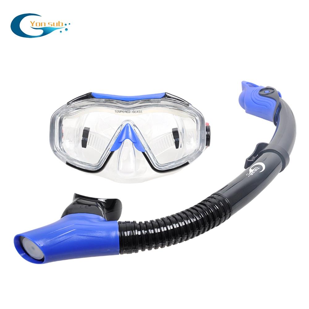 Scuba Máscara de Mergulho Natação Definir Anti-fog Máscara de Mergulho Subaquático Equipamento Quatro Lente de Visão Ampla + Máscara de Respiração Fácil snorkel seco