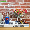 Wrought Iron Bicycle Wall Hanging Flower Basket Suspension Flower Arrangement Container Home Decor Art Decoration 4