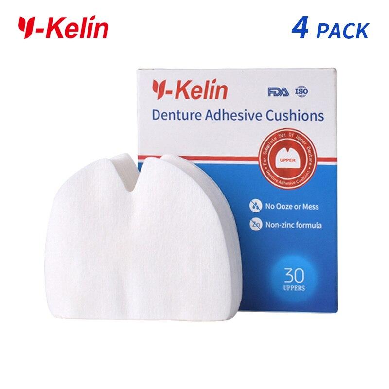 Y-Kelin Denture Adhesive Cushion  120 Pads For Upper Jaw  Upper Denture (30pads *4 Packs)