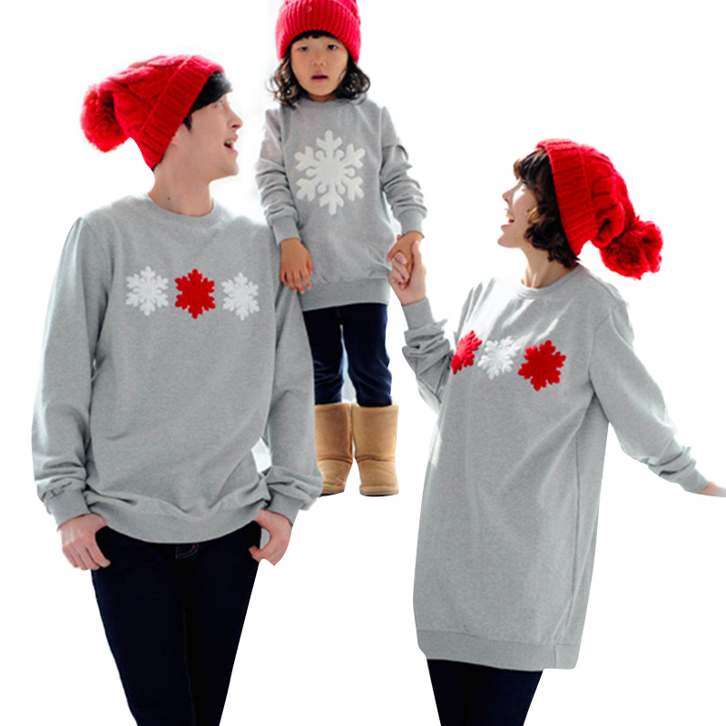 Family Christmas Clothes Parent-child Wear Sweater Plus Velvet Winter Set Of Snowflake Tops Long Sleeve Christmas Family Clothes