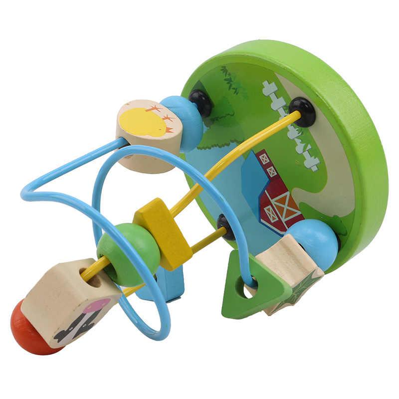 صورة كرتونية صغيرة حول حبة الأطفال الصغار التعليمية ألعاب الأطفال الخشبية الصغيرة حول الخرز لعبة Montesori