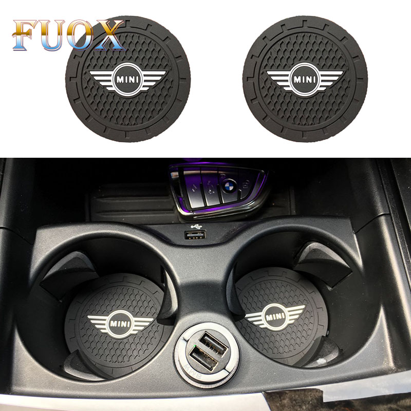 2PCS Car Cup Anti-slip Pad Lamp Cup Holder Mat Pad Bottle Built-in Car Styling For COOPER S R50 R53 R56 R60 F55 F56 R57