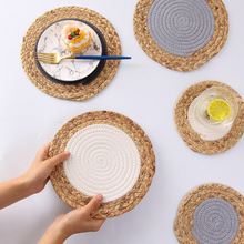 Round Dining Table Mat Heat Insulation Pot Holder Coasters Corn fur woven Coffee Drink Tea Cup Table Placemats Mug Coaster natural hand woven straw placemat dining table mat heat insulation pot holder cup coaster kitchen accessories