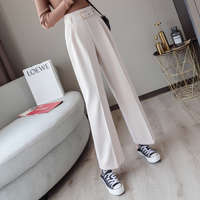 Chic OL Style White Women Pants Casual Sashes Wide Leg Pant High Waist Elegant Work Trousers Female femme