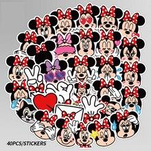 40 adet Disney Minnie değil tekrarlanan sevimli karikatür çıkartmalar kaykay motosiklet bagaj Laptop gitar dizüstü etiket oyuncak