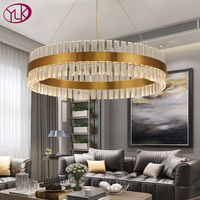 Modern led chandeliers in the living room ring crystal chandelier for dining room hanging circle cristal lamps gold bronze light