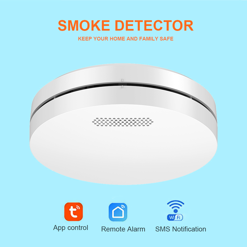 WIFI Smoke Detector Tuya Smart Life APP Control Rauchmelder Home Security Fire Alarm Ultra-Thin Design with CE Approval