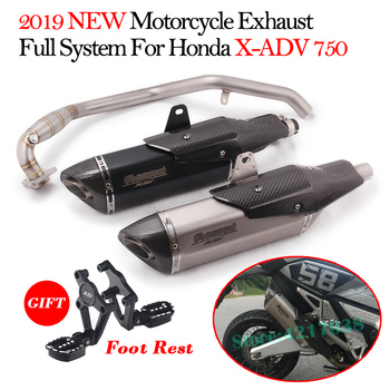 2019 New Motorcycle Exhaust Full System For HONDA X-ADV 750 ADV750 Modified Muffler Front Mid Link Pipe Foot Rest Titanium Alloy