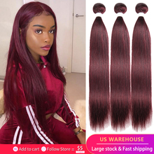 Brazilian Hair Weave Bundles Straight 99J Burgundy Bundles Pre colored Human Hair Bundles Non Remy Hair 1/3 Pieces Free Shipping