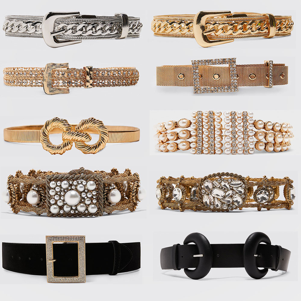 Miwens Trendy ZA Double Buckle Belt Women Vintage Gold Metal Chain Belt Boho Faux Black Leather Statement Belt Party Jewelry
