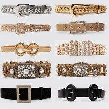 Miwens Trendy ZA Double Buckle Belt Women Vintage Gold Metal Chain Belt