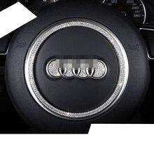 Lsrtw2017 Zinc Alloy Crystal Diamond Car Steering Logo Ring Trims for Audi A4 A6 A3 A5 Q3 Q5 Q7 Interior Accessories
