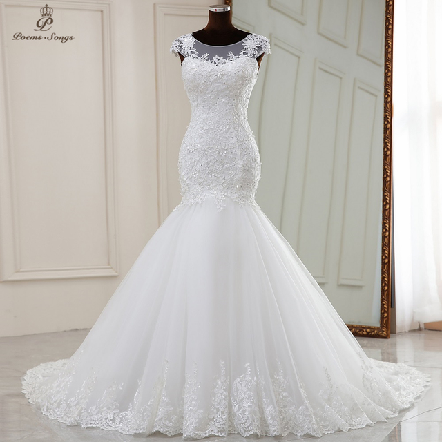 Real photo Real video Elegant mermaid wedding dress 2021 marriage dress robe de mariee vestidos de novia sereia 1