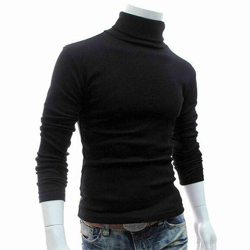 Men Long Sleeve Pullover High Neck Turtleneck Stretch Slim Basic Tee Top Knitwear FDC99