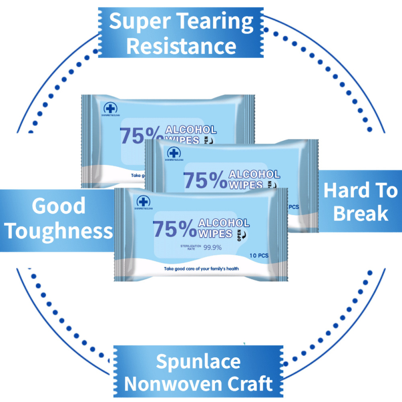 10 Sheets/Pack 75% Alcohol Wipes Portable Hand Towel Swabs Pads Disinfection Wipes Antiseptic Cleaning Sterilization Health Home