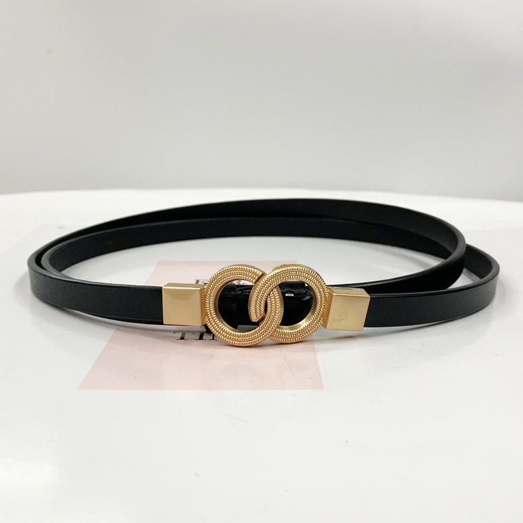 2020 Luxury Designer Fashion Adjustable Belts For Women Genuine Leather Belt Woman Thin Easy Waist Ceinture Femme Dress Black