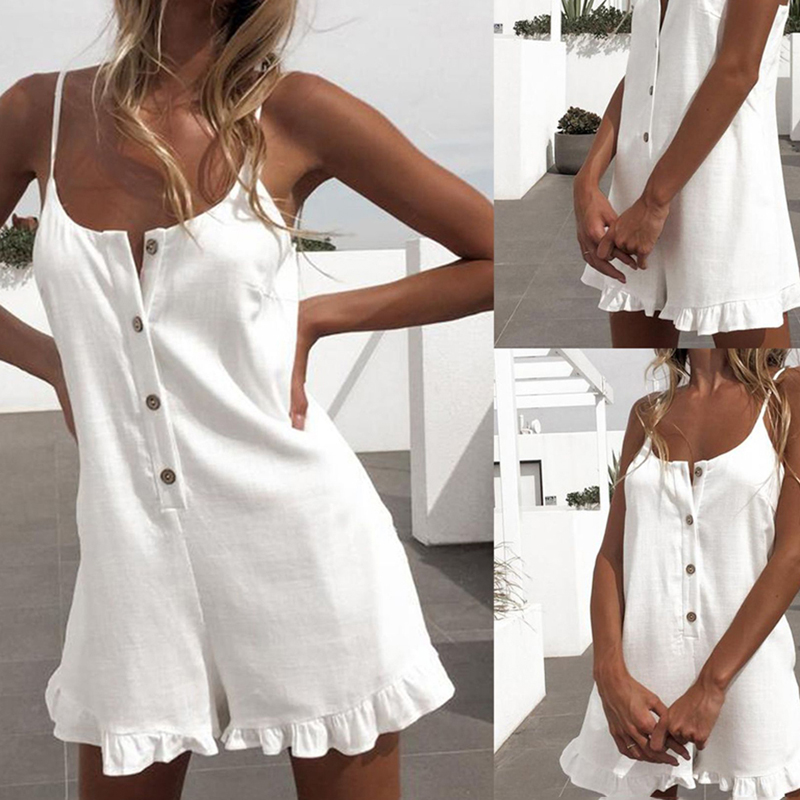 Fashion women's Beach Jumpsuit Summer Hot Clothing Jumpsuit Sexy Casual Hem Ruffle Soild Color Women Siling Summer Clothing