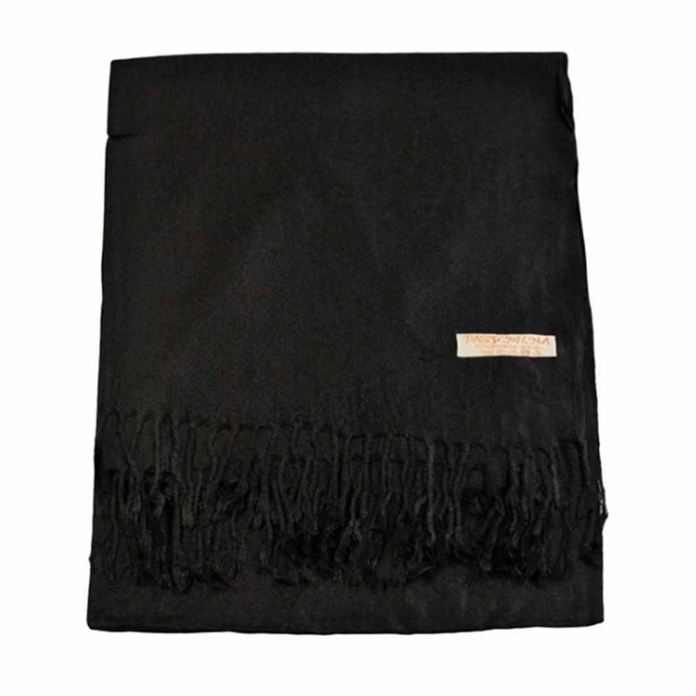 특대 스카프 170x73 cm 간단한 따뜻한 담요 Unisex 솔리드 랩 캐시미어 스카프 목도리 Pashmina 여성 남성 가을 겨울
