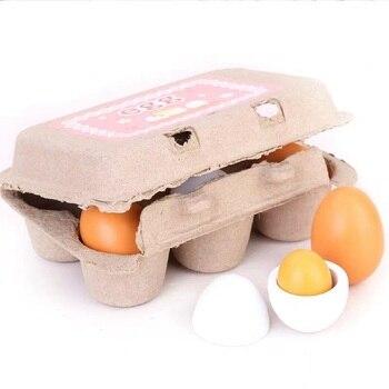 6PCS Wooden Eggs Yolk Pretend Play Kitchen Food Cooking Kids Children Baby Toy