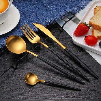 Juego de 24 piezas de vajilla de acero inoxidable para comida, juego de vajilla para el hogar, cuchillo, cuchara, tenedor, cuchara de postre, juego de cubiertos de oro exclusivo