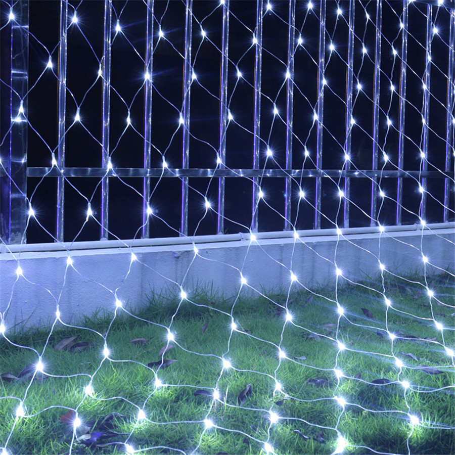 BEIAIDI Christmas LED Net Mesh Fairy String Light 2X2M 3X2M 6X4M Outdoor Holiday Wedding Party Window Icicle LED String Garland
