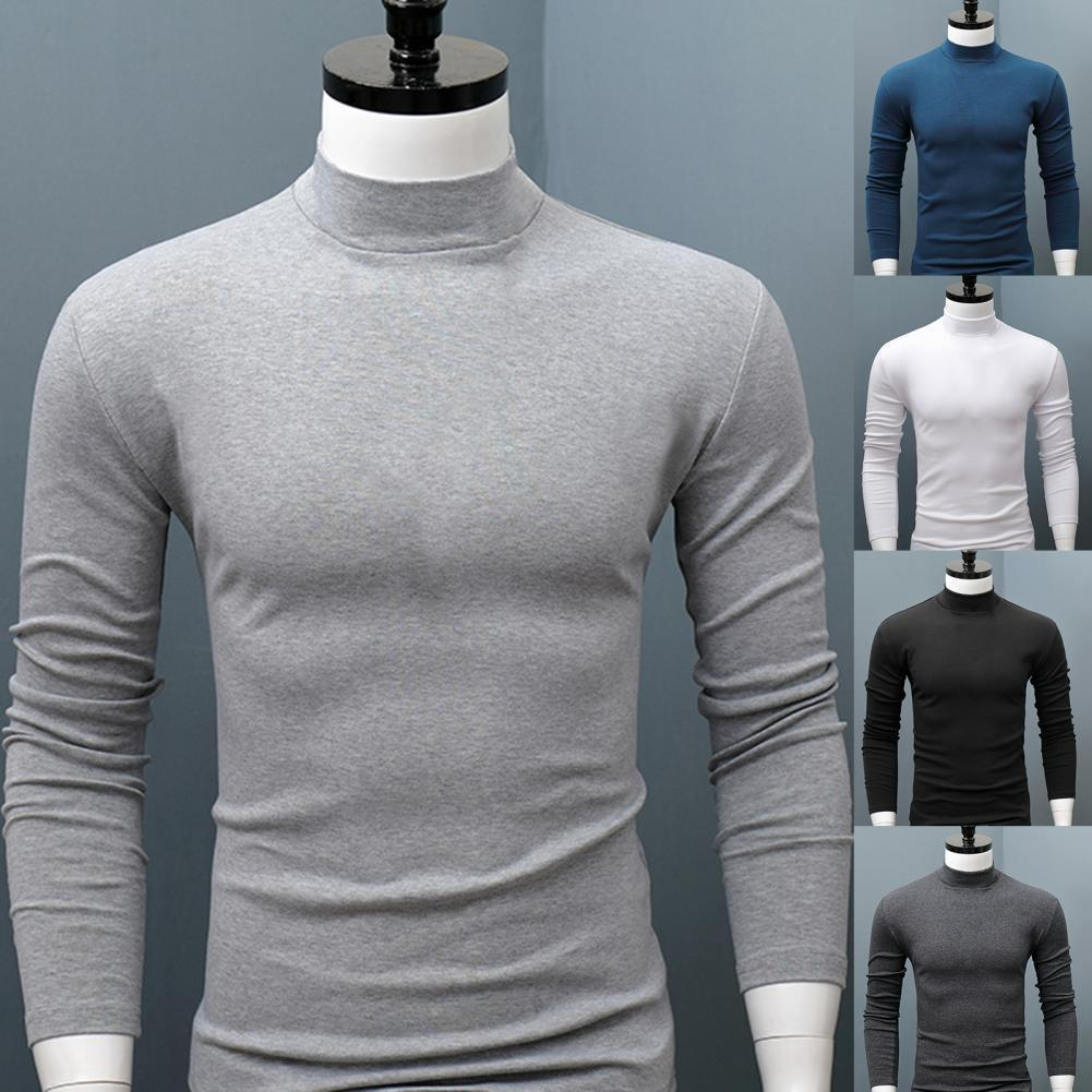 Men Shirt Sweater Solid Color Half High Collar Casual Slim Long Sleeve Keep Warm Tight Shirt Male for Men Clothes Inner Wear